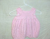 handmade in the USA Pink crocheted baby dress