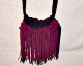Handmade Crocheted suede purse