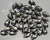 10.5mm x 18mm Teardrop, 36pcs  Black Diamond Crystal, sew on stone embellishment flatback