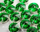 50% OFF - 9pcs Peridot Green Crystal, 18mm Round, Fancy Stone & Setting
