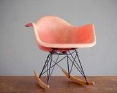 RESERVED Eames Zenith Rope Edge Rocker RAR in Salmon Fiberglass for Herman Miller Arm Chair