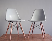Eames Seafoam DSW Side Chairs for Herman Miller Vintage Fiberglass Matching Pair