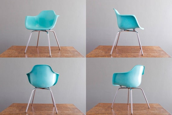 RESERVED Vintage 1960's Krueger Arm Chair in Robin Egg Blue Turquoise