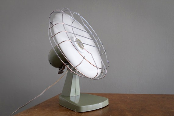 Vintage Summer Fan with Bright White Blades by Superior Electric Industrial Military Green
