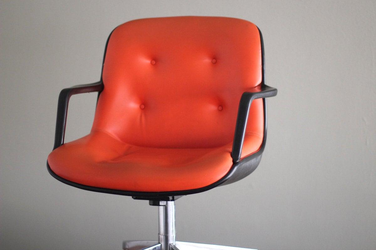 Vintage Orange Pollock Style Rolling fice Arm Chair