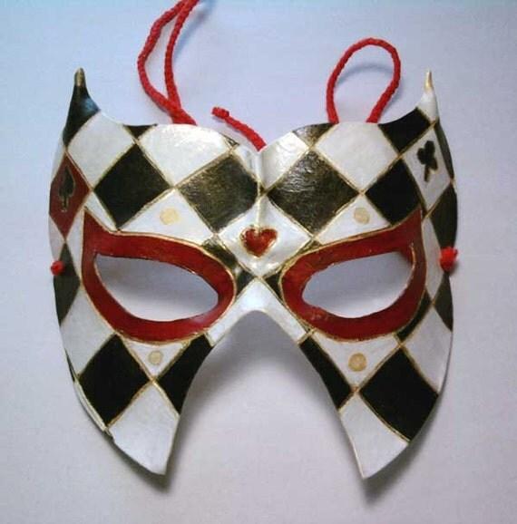Reserved for  Isabelle (ivacher) Harlequin Venetian Mardi Gras Carnival Masquerade leather mask sculpture
