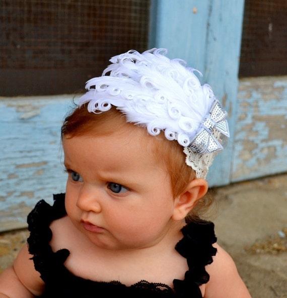 Feather Lace White Headband, Babies Headband, Hair Accessories, Fascinator