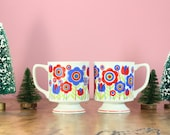 1960's Mod Pedestal Floral Mugs// Set of Two