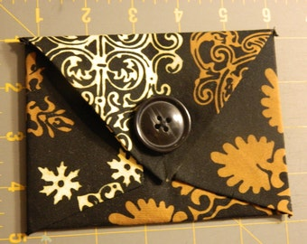 Whimsy Fabric Envelope-Black Fabric with tan & white large print and xtra large button closure
