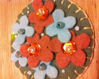 Felted Wool Pin Adorned with Colorful Flowers, Beads, Sequins and Embroidery-Brooch Pin/Scarf Pin/Hat Pin