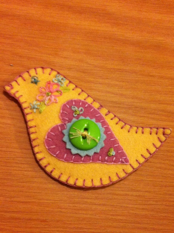 Felted Wool Sweetheart Bird Pin Adorned with Flowers, A Bead & Button and Embroidery-Brooch/Scarf Pin/Hat Pin