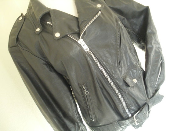 Vintage Motorcycle Jacket- black - Unisex 1970's- Made in the USA Sears