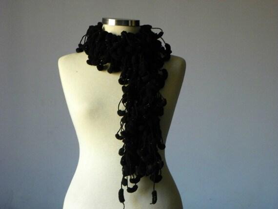 Crochet pompom soft scarf - handmade neckwarmer autumn women accessories, fall fashion