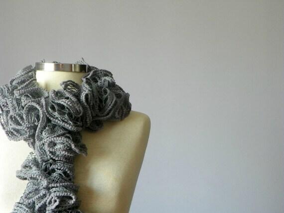 Crochet scarf soft Grey wool yarn- handmade neckwarmer autumn - winter women accessories, fall - winter fashion