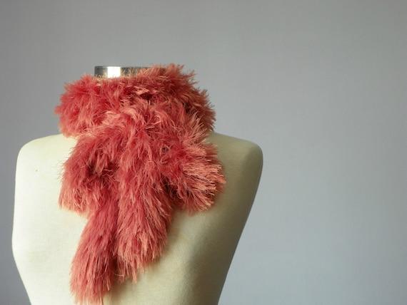 Knit scarf soft yarn, peach, powder color, handmade neckwarmer autumn women accessories, autumn fall fashion, Valentine's day gift idea
