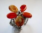 Agate gemstone wire wrapped cuff - semi precious stones - summer fashion bracelet