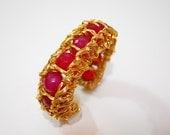 Pink Agate wire wrapped semi precious bracelet cuff WEARABLE ART