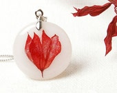 Red real flower pendant with Scarlet Sage -  resin handmade jewelry - Salvia splendens