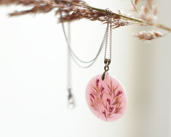 Real flowers necklace - Pink soft dreamy resin handmade jewelry - Phalaroides & Amaranthus
