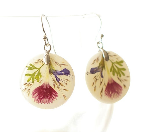 Real flowers sterling silver 925 earrings - resin handmade jewely - shabby chic bouquet