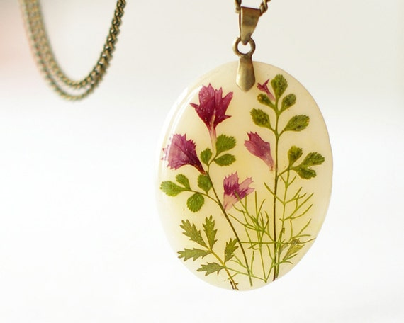 Real pressed flowers pendant - gift for nature lovers - OOAK handmade jewelry