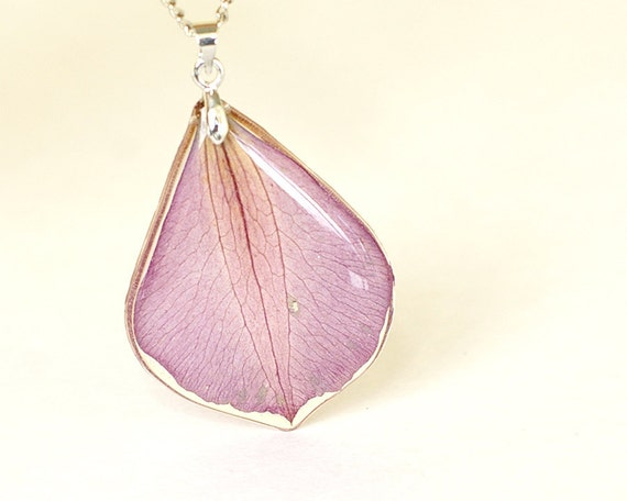 Real Petal Necklace - purple handmade resin jewelry - Clematis 'Ville de Lyon'