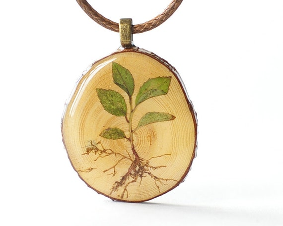 Real Plant Wooden Pendant - green sprout brown woodland rustic jewelry  - botanical art