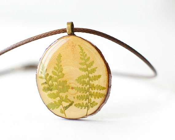 Real Fern Wooden Necklace - woodland rustic nature jewelry - botanical dried fern