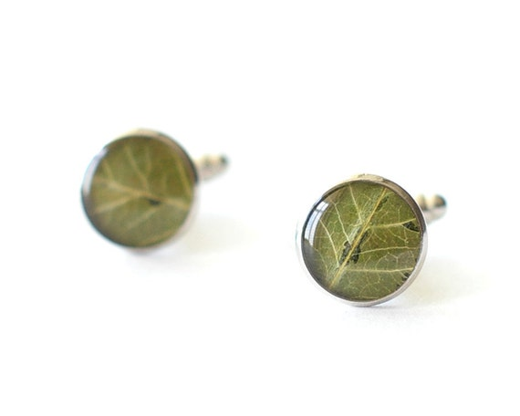 Real Leaf Cufflinks - green unusual resin cuff links - Malus baccata