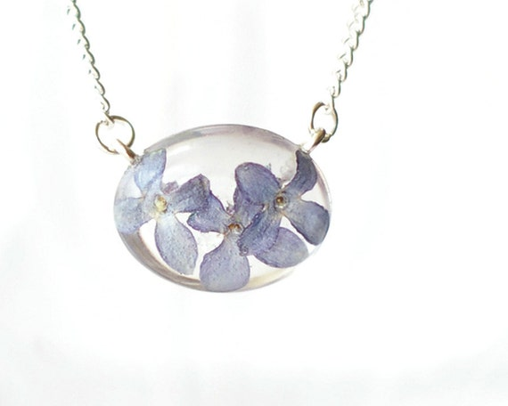 Lilac Flower Necklace - Lavender Syringa vulgaris