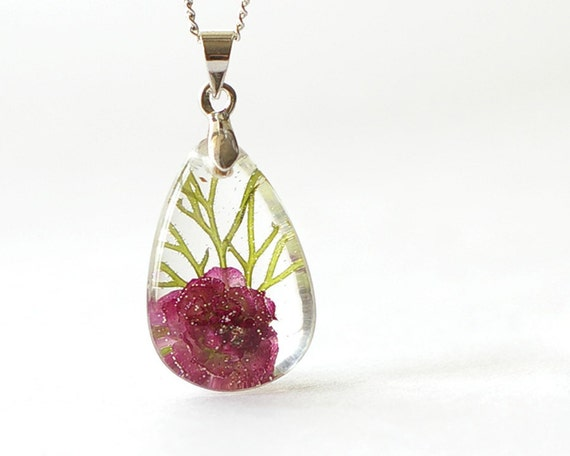 Real flowers necklace - romantic tiny necklace - pink handmade resin drop