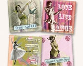 2.5in DANCE WITH JOY squares vintage dancers ballerinas for greetings cards gift tags etc  MagentaBelle digital collage sheet 69