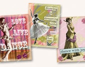 DANCE WITH JOY vintage ballerinas and dancers 2.5 x 3.5in aceo tags hangtags cards invitations paper crafts MagentaBelle sheet  70
