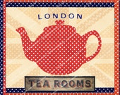 ENGLISH TEA TRANSFER sheet for tote bags, cardstock, cushions, pillowshams or print onto paper  MagentaBelle instant download 90