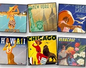 2in VINTAGE TRAVEL posters New York, Paris, etc  squares  2x2 for paper crafts decoupage  journalling etc  MagentaBelle sheet  112.