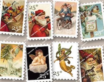 VINTAGE CHRISTMAS 'STAMPS' vintage santa angels cherubs faux stamps for Christmas projects envelopes cards  MagentaBelle instant download 60