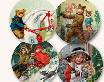 2.5in VINTAGE CHILDRENS' CHRISTMAS circles vintage kids rounds for christmas projects MagentaBelle instant download 64