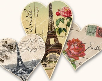 PARIS LOVE ROMANTIC lovehearts for valentines wedding enegagement cards invitations papercrafts  MagentaBelle Digital Collage Sheet no. 78