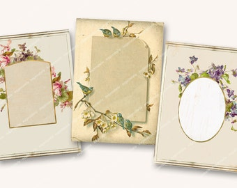 SHABBY FLORAL FRAMES victorian album pages for journalling scrapbooking papercrafts aceo 2.5x3.5in   MagentaBelle sheet 99
