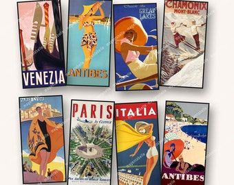 1x2in VINTAGE TRAVEL POSTERS London Paris France New York  for dominos pendants papercrafts etc  MagentaBelle sheet 114