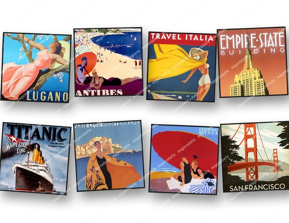1in VINTAGE TRAVEL poster  squares  inchies 1x1 New York, Paris, London, Montecarlo, etc  for jewelry paper crafts etc MagentaBelle  111.