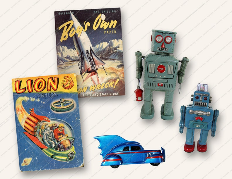 Toys For Boys Magazine : Vintage retro boys toys robots magazine covers by magentabelle
