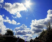 Big Blue Sky, bright white clouds, 8x12 signed print - Wall Decor - Fine Art Photography