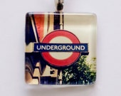 London Photo Pendant London Underground Glass Photo Real Glass Pendant London Olympics London England - In Sctock - Fine Art Photography