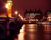 ON SALE -Big Ben at night - signed 8x12 wall decor - Fine Art Photography, In Stock