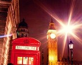 Big Ben at night, Bright Red Phone Box Phone Booth - wall decor - Fine Art Photography