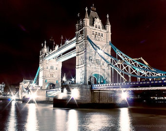 Instant Download London Photograph Tower Bridge, City of London at Night Fine Art Photography office art wall art home decor London