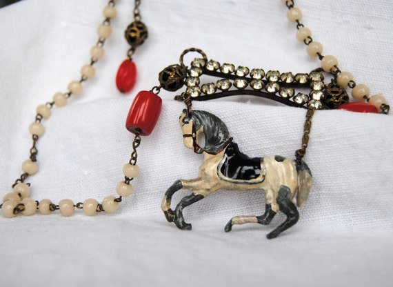 RESERVED LIST for Rosaria. Horse Necklace. Don't buy please.