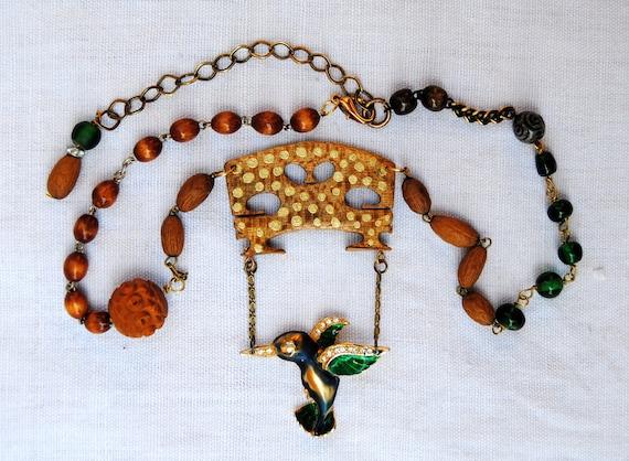 Violin  Bridge Necklace. Violin bridge, antique rosary, vintage assembled, antique reconstructed