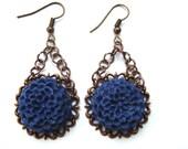 Blue Flower Earrings.. Vintage Inspired Flower Earrings. Long Dangle Earrings. Antique Filigree Base. Chain Earrings